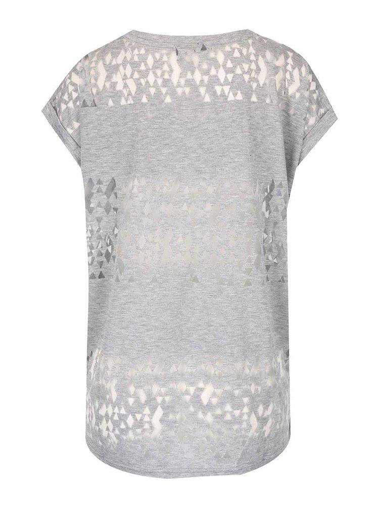 Sivé voľnejšie tričko s transparentnými detailmi ICHI Leni
