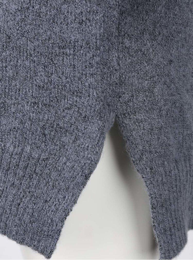 Šedomodré svetrové šaty s dlouhým rukávem ICHI Merci