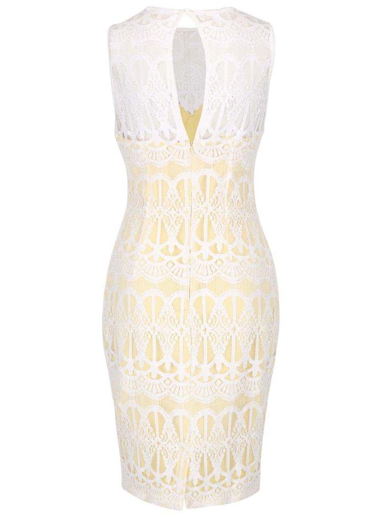Žluto-bílé krajkové šaty Lipsy