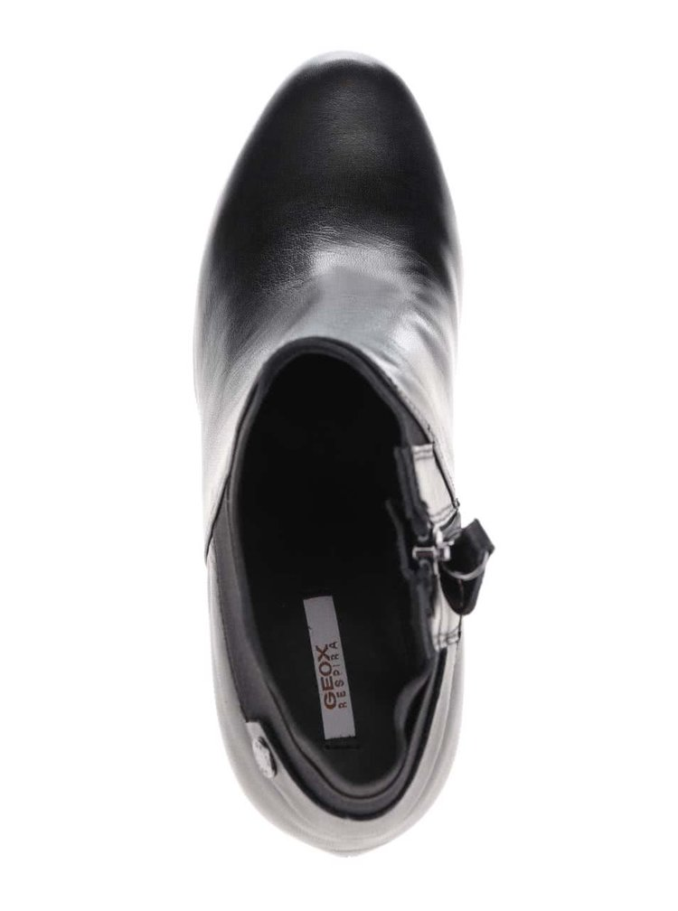 Čierne dámske kožené topánky na podpätku Geox Inspiration Stiv