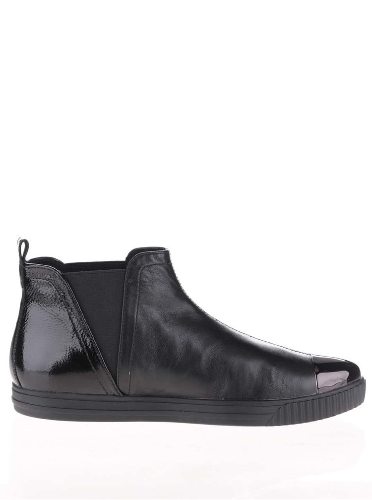 Černé dámské kožené kotníkové boty s lesklou špičkou Geox Amalthia