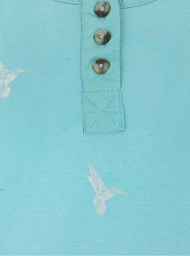 Tyrkysové tričko s dlhým rukávom a potlačou vtáčikov Brakeburn Curved