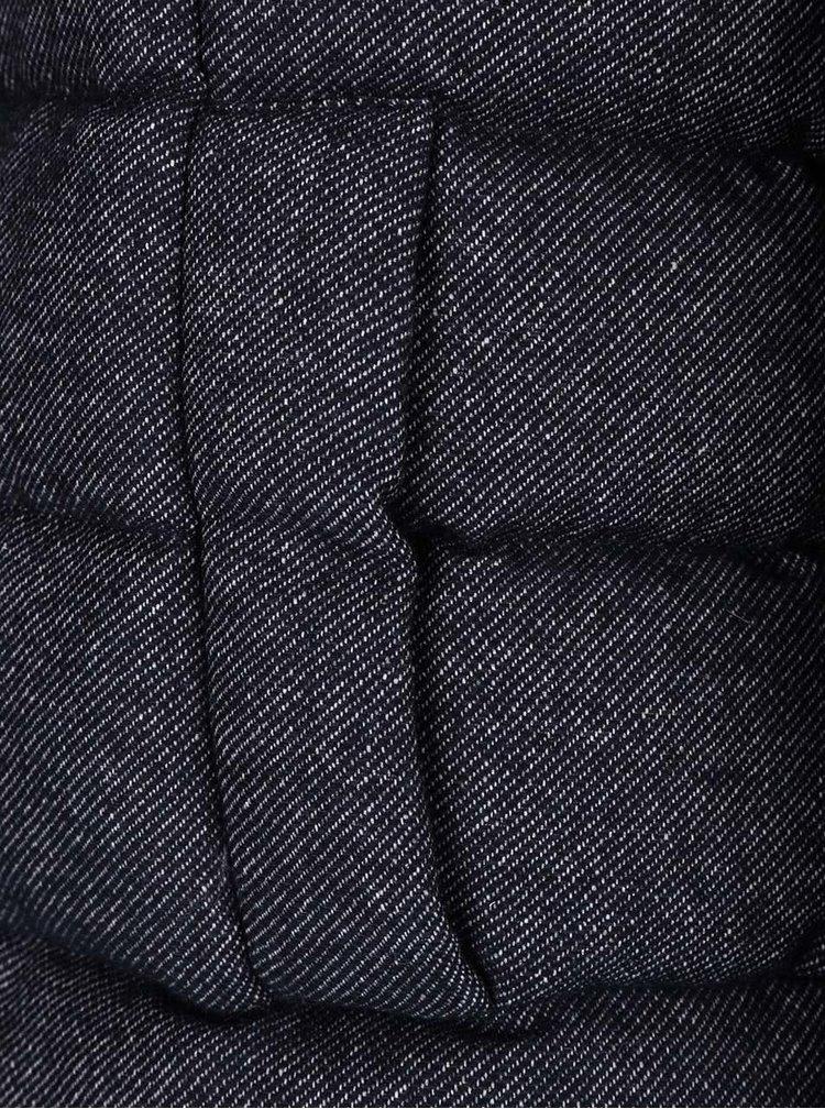 Tmavě modrá dámská prošívaná žíhaná bunda s límcem Geox Down