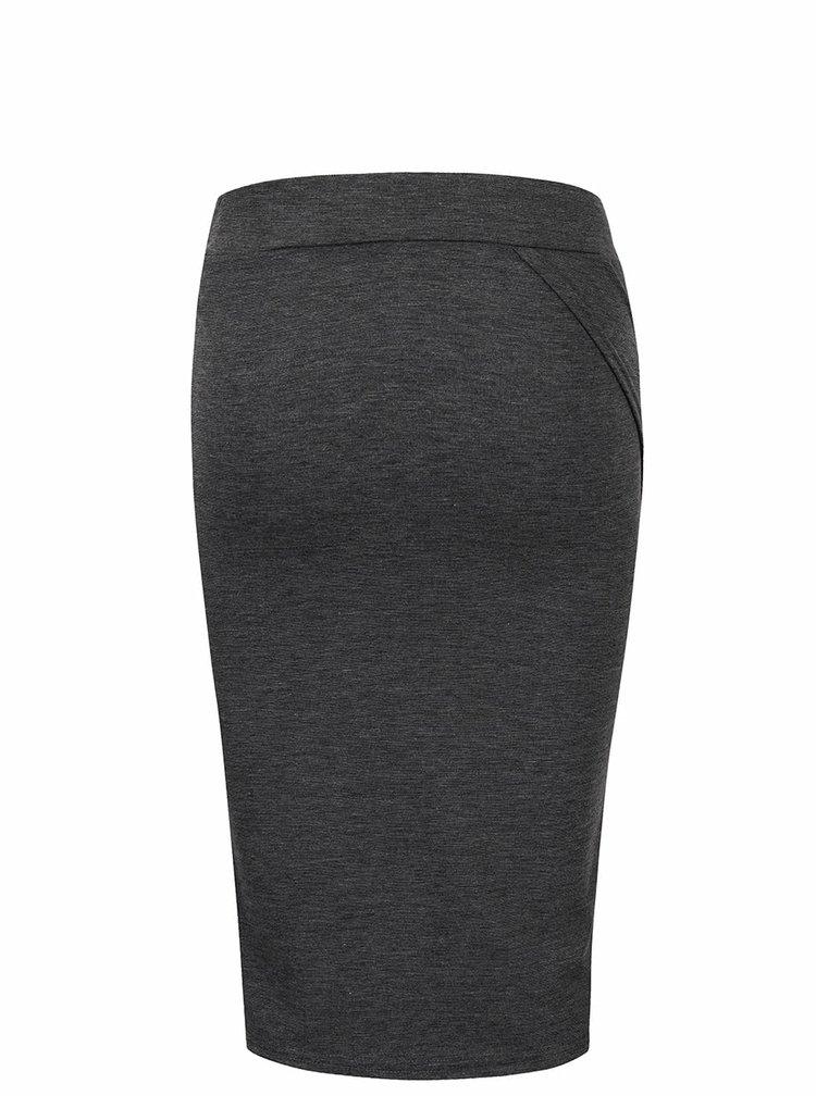 Tmavě šedá překládaná sukně ICHI Mustang