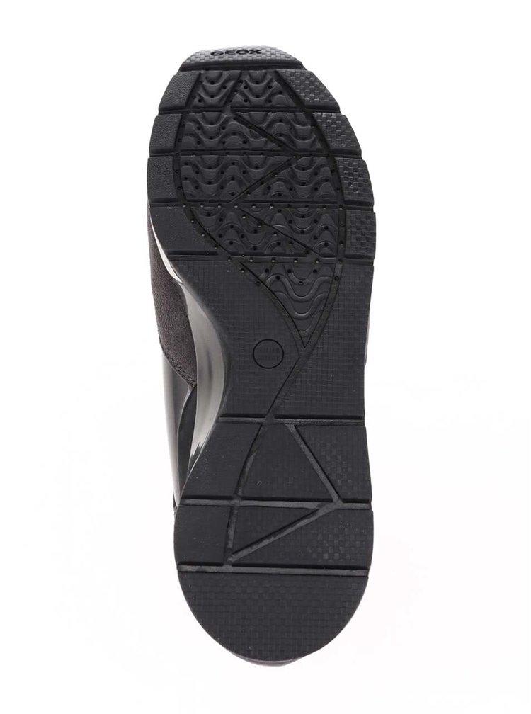 Sivé dámske kožené tenisky v semišovej úprave Geox Shahira