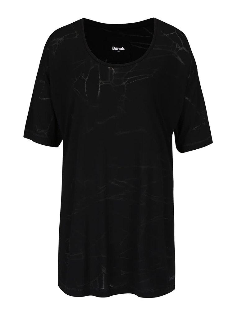 Čierne dámske oversize tričko s jemným vzorom Bench Corridor
