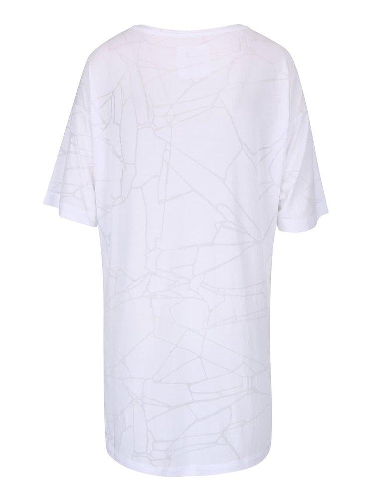 Biele dámske oversize tričko s jemným vzorom Bench Corridor