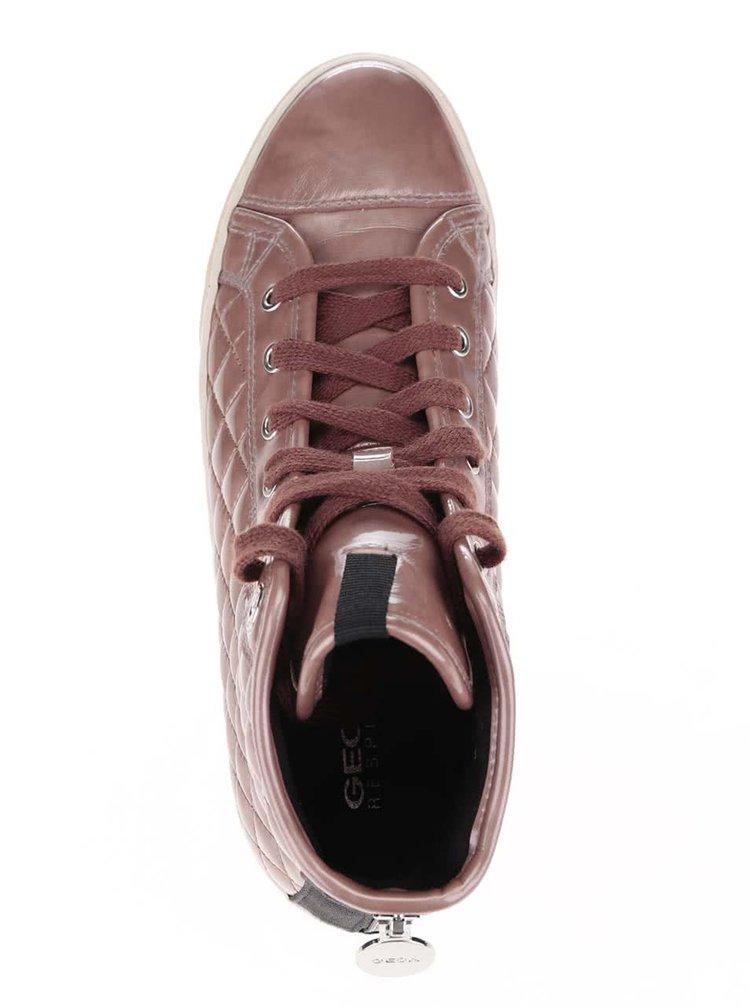 Růžovo-hnědé dámské kotníkové tenisky Geox New Club