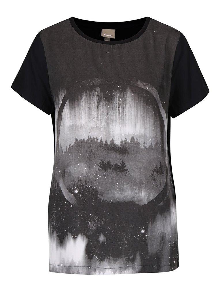 Černé dámské tričko s potiskem Bench Overgrown