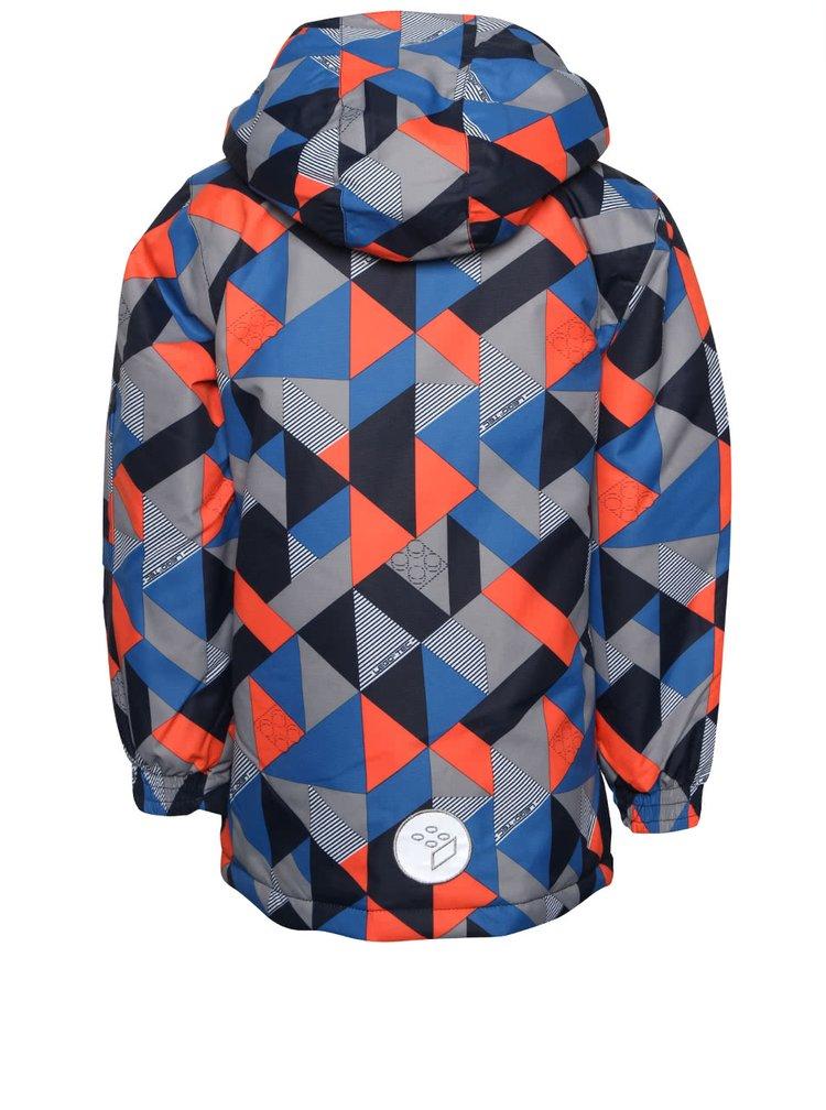 Oranžovo-modrá chlapčenská vzorovaná bunda LEGO Wear Jadon