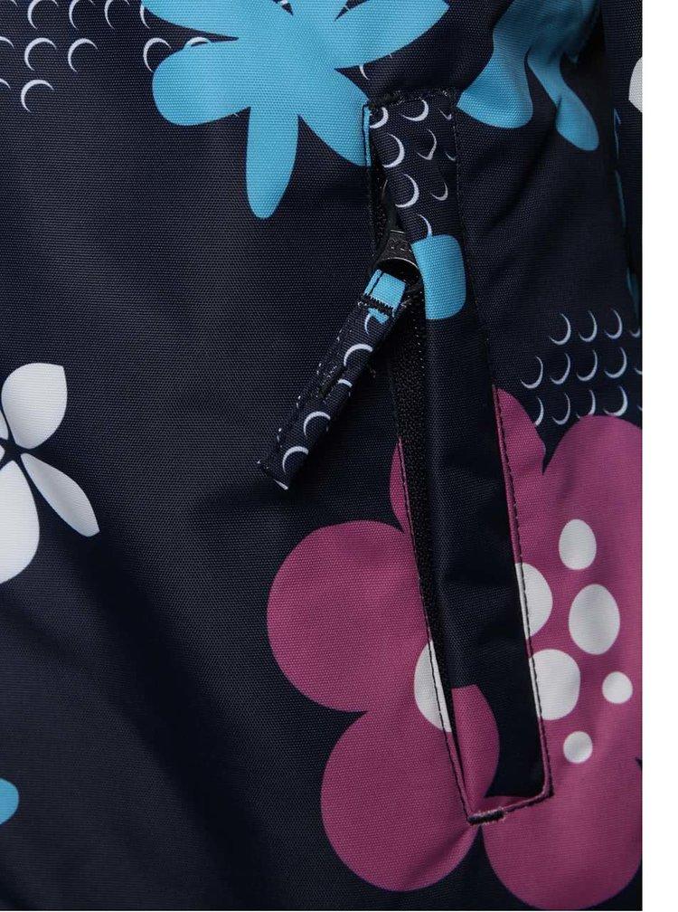 Tmavomodrá dievčenská bunda s motívom kvetín LEGO Wear Jenay