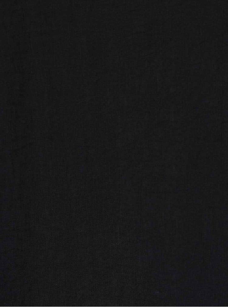 Černé lesklé volnější šaty s dlouhým rukávem ICHI Classy