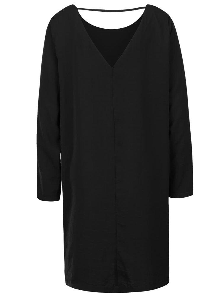 Čierne lesklé voľnejšie šaty s dlhým rukávom ICHI Classy