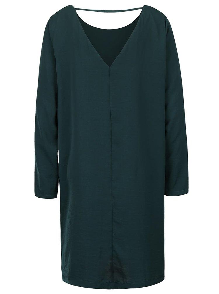 Tmavě zelené lesklé volnější šaty s dlouhým rukávem ICHI Classy