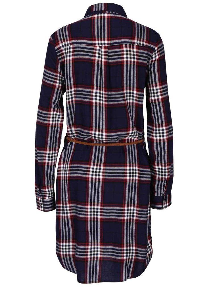 Červeno-modré kockované košeľové šaty s tenkým opaskom Haily's Patty