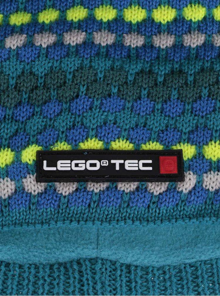 Zeleno-modrá klučičí vzorovaná čepice LEGO Wear Ace