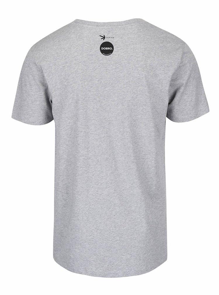 """""""Dobré"""" šedé pánské tričko s potiskem Elpida"""