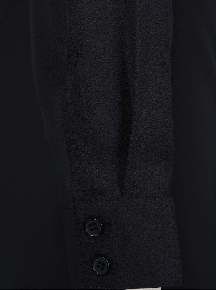 Čierne dlhšie košeľové šaty s dlhým rukávom ICHI Bazir