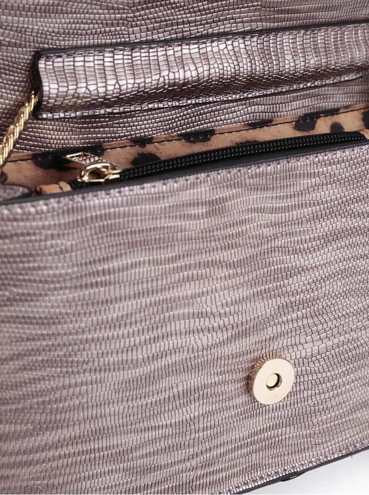 Šedo-hnědá žíhaná vzorovaná crossbody kabelka se zipem Gionni Margarida