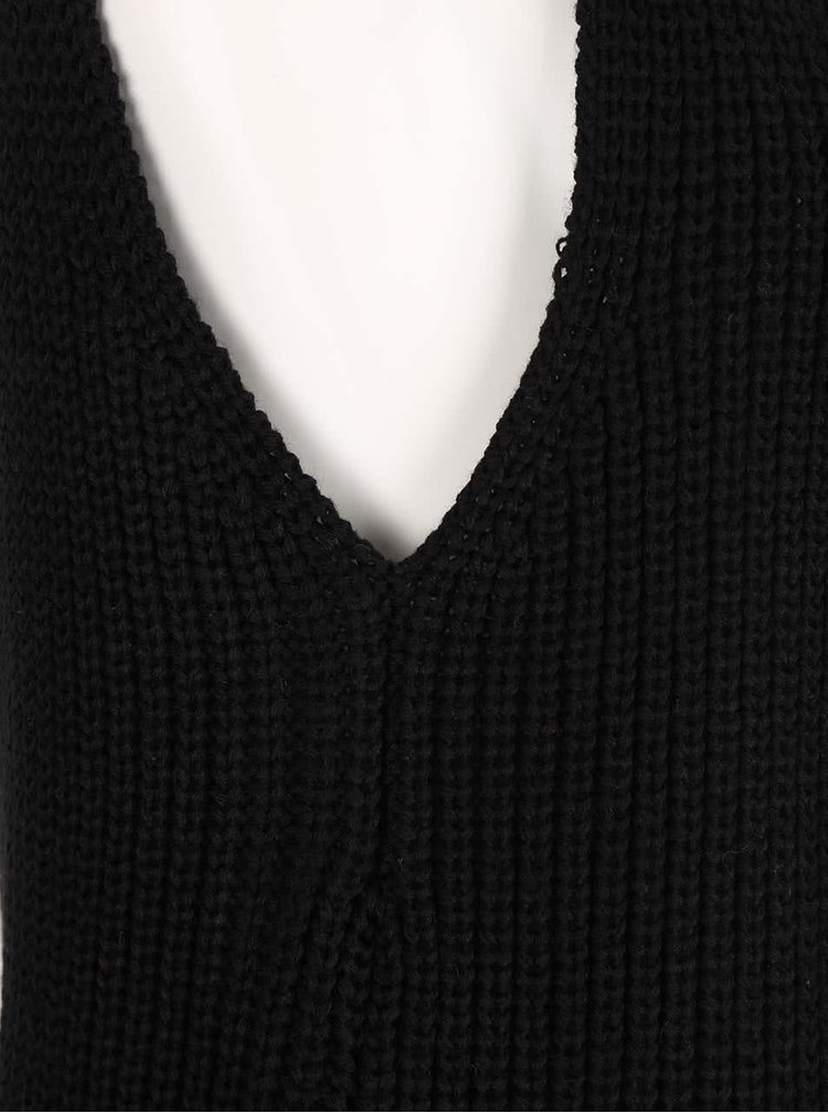 Černý delší svetr bez rukávů s rolákem Haily's Diana