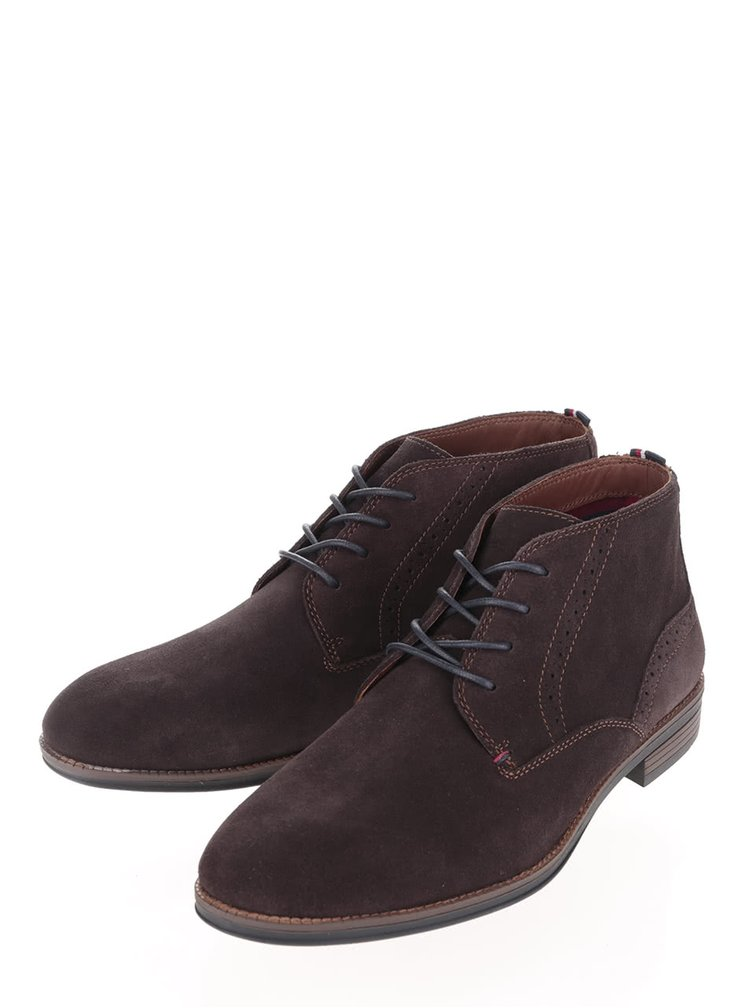 Hnedé pánske semišové členkové topánky Tommy Hilfiger