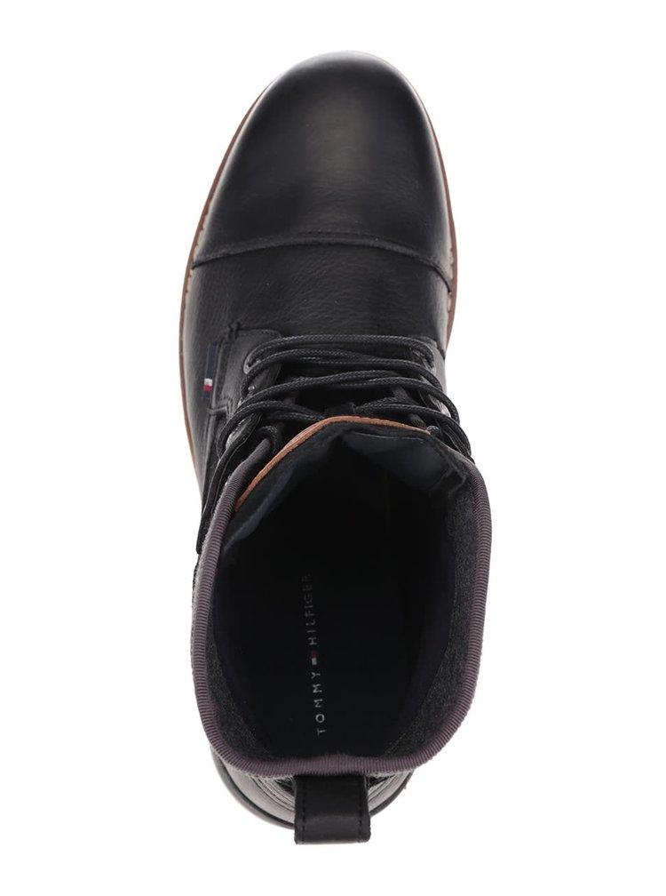 Černé kožené pánské kotníkové boty Tommy Hilfiger
