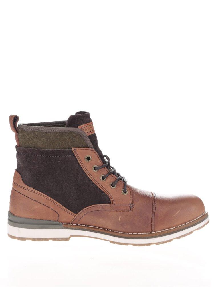 Hnědé kožené pánské kotníkové boty Tommy Hilfiger