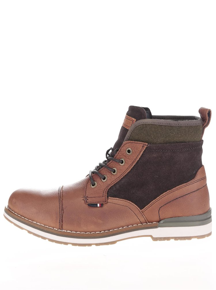 Hnedé kožené pánske členkové topánky Tommy Hilfiger