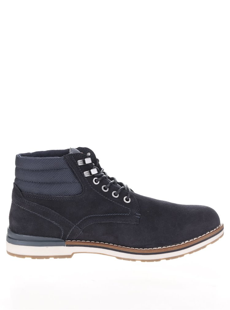 Tmavě modré pánské semišové kotníkové boty Tommy Hilfiger