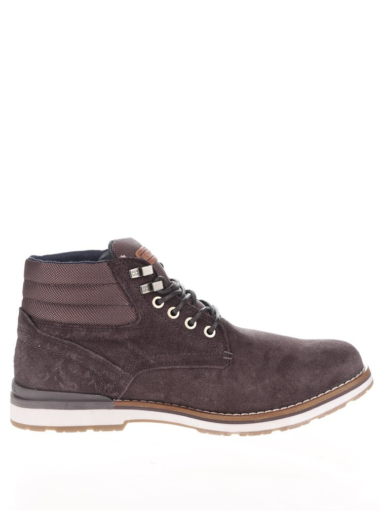 Tmavohnedé pánske semišové členkové topánky Tommy Hilfiger