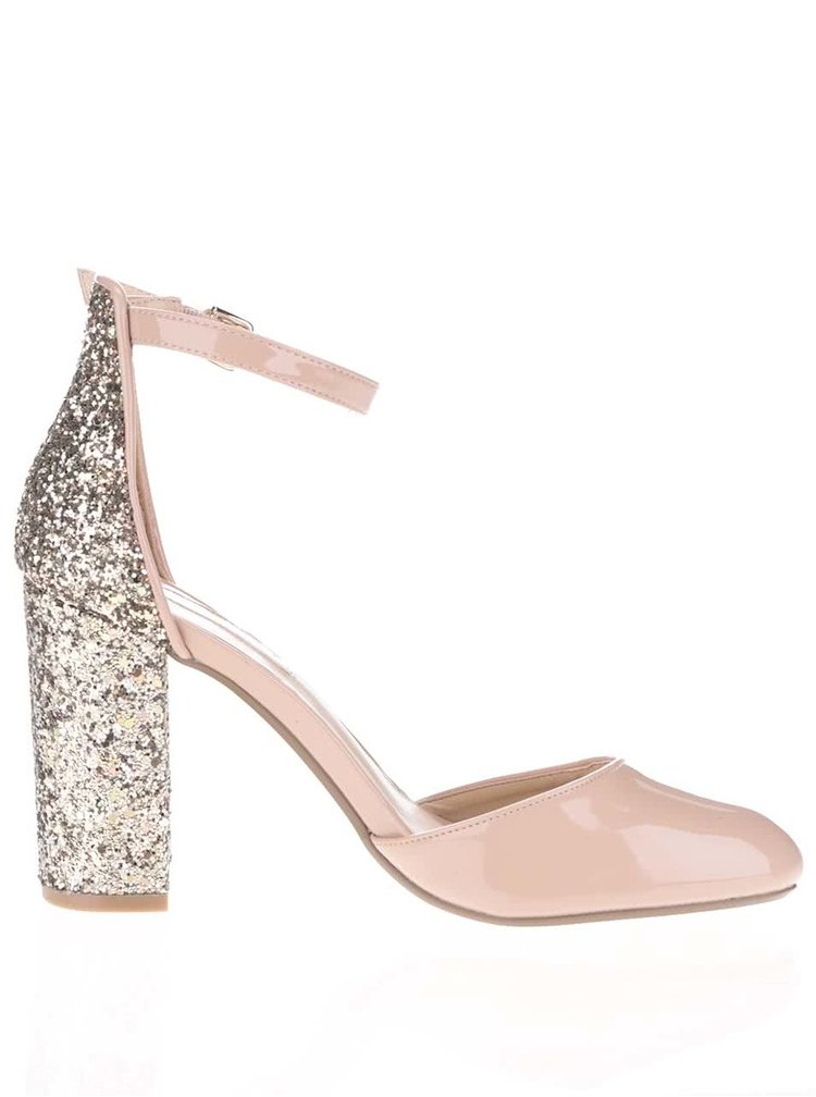Telové lesklé sandálky s trblietavým podpätkom Dorothy Perkins