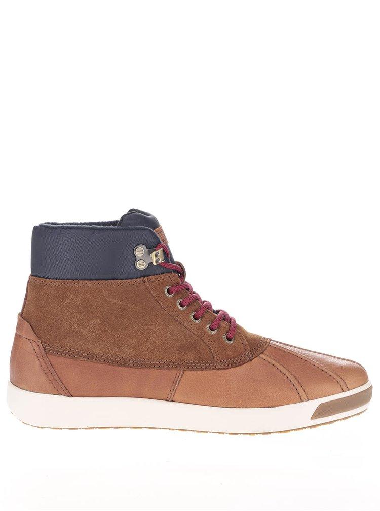 Světle hnědé kožené pánské boty s modrým lemem Tommy Hilfiger