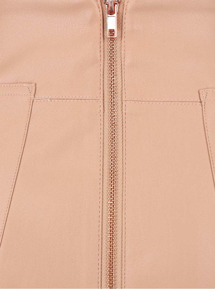 Pudrová koženková sukňa so zipsom a vreckami Dorothy Perkins