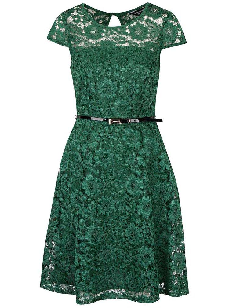 Zelené čipkované šaty s čiernym opaskom Dorothy Perkins