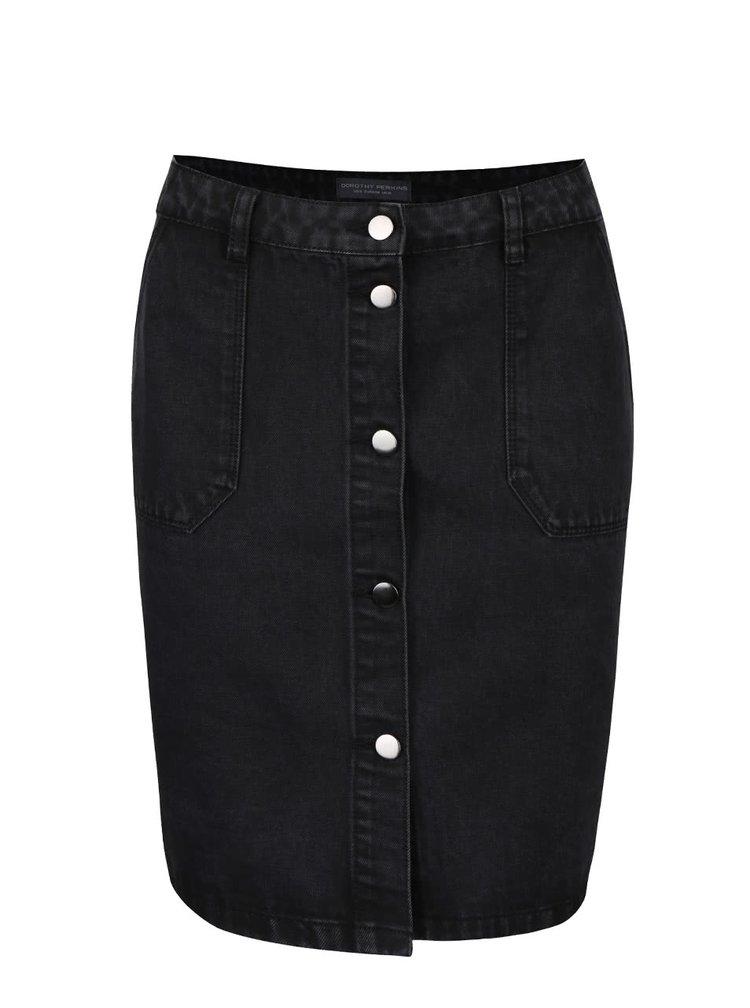 Černá džínová propínací sukně s kapsami Dorothy Perkins