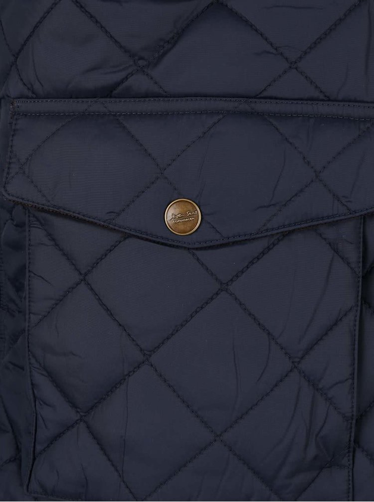 Tmavě modrá pánská prošívaná bunda s límcem Seven Seas