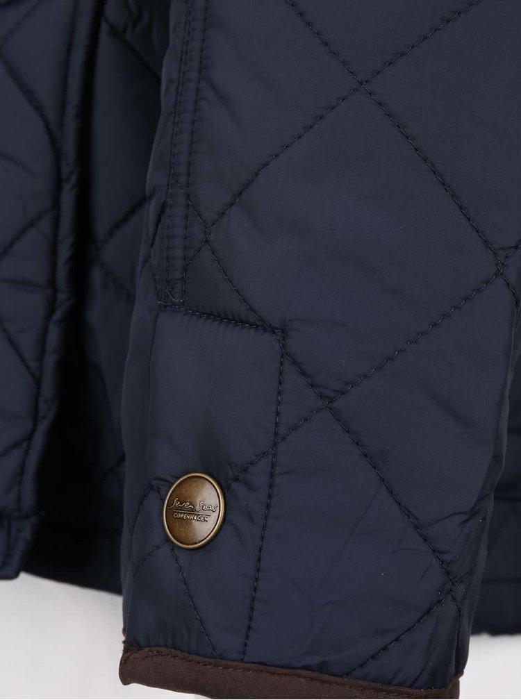 Tmavomodrá pánska prešívaná bunda s golierom Seven Seas