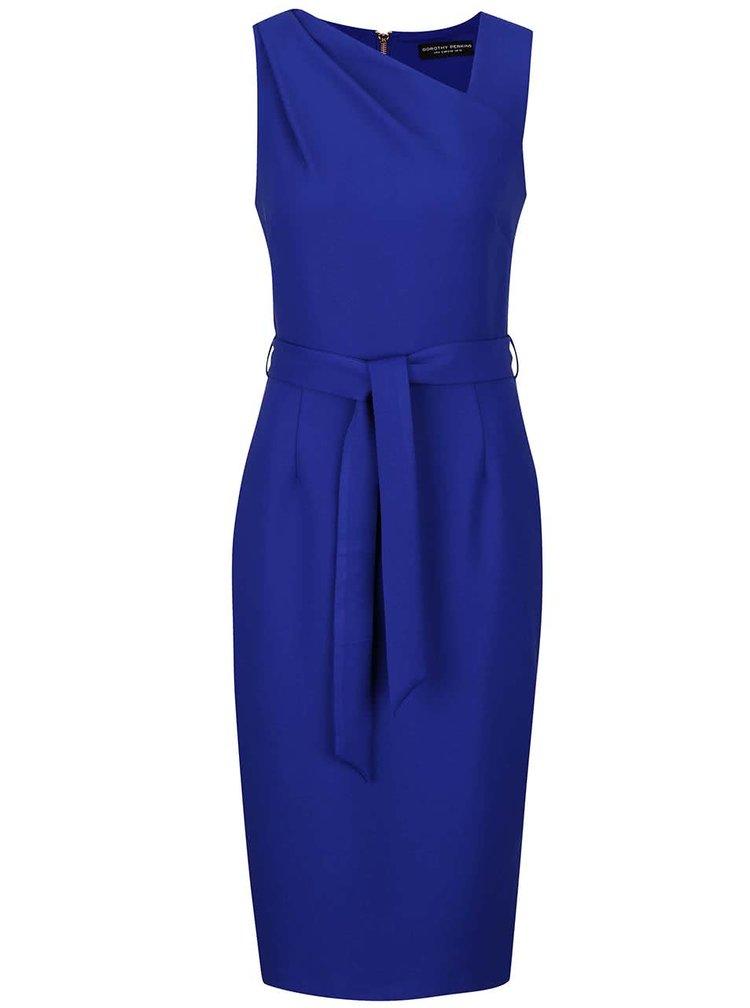 Modré šaty s asymetrickým dekoltom Dorothy Perkins