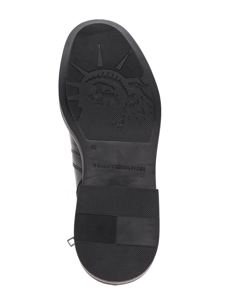 Čierne pánske kožené chelsea topánky Tommy Hilfiger