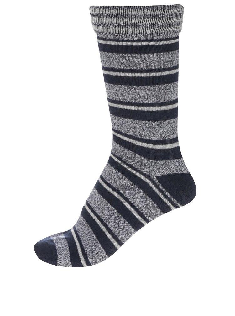 Balení čtyř tmavě modrých a vínových ponožek s pruhy Jack & Jones Slub