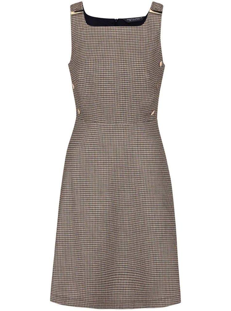 Krémovo-modré vzorované šaty s detailmi v zlatej farbe Dorothy Perkins