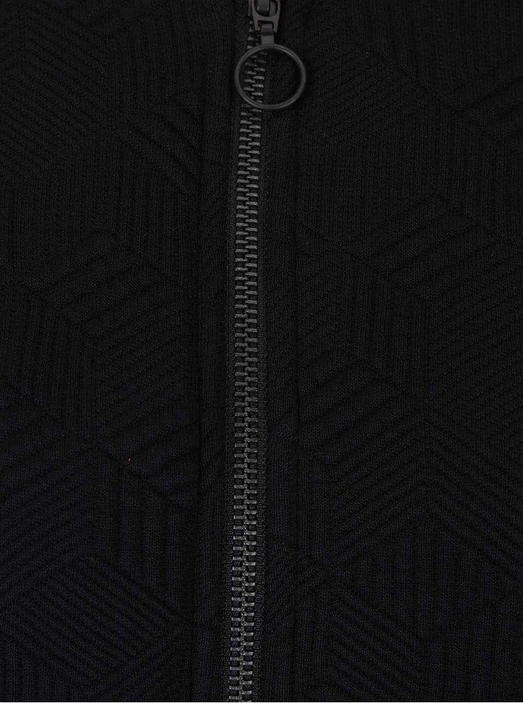 Černá dlouhá mikina s plastickým vzorem gsus