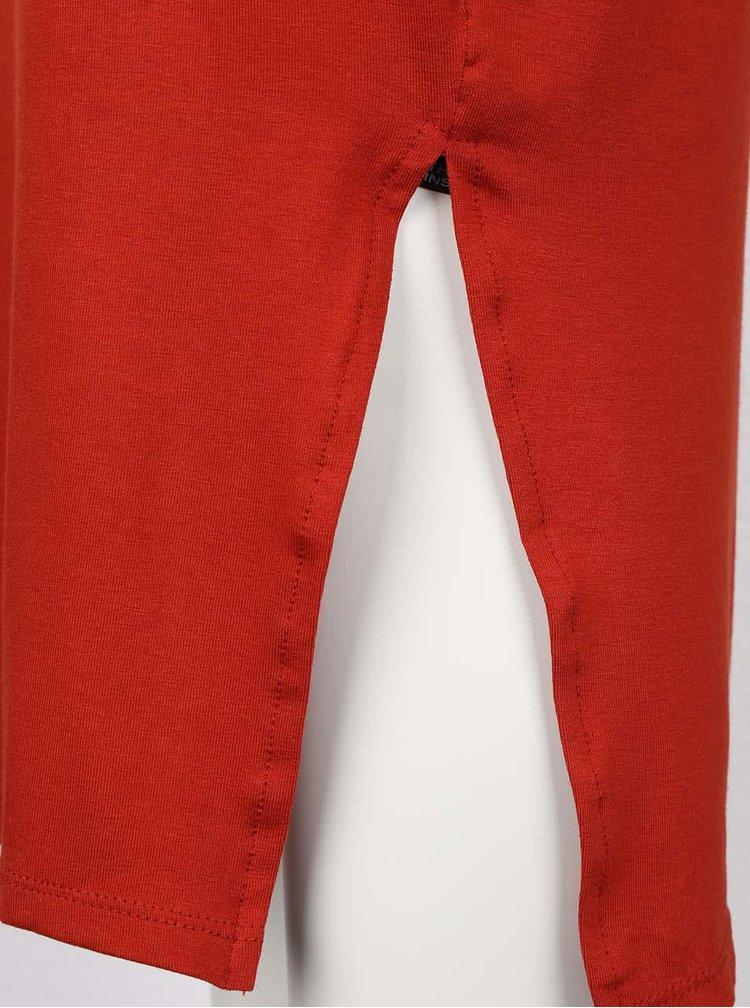 Cihlová elastická midi sukně s rozparky Dorothy Perkins
