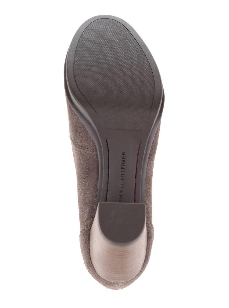 Šedohnědé semišové boty na podpatku Tommy Hilfiger