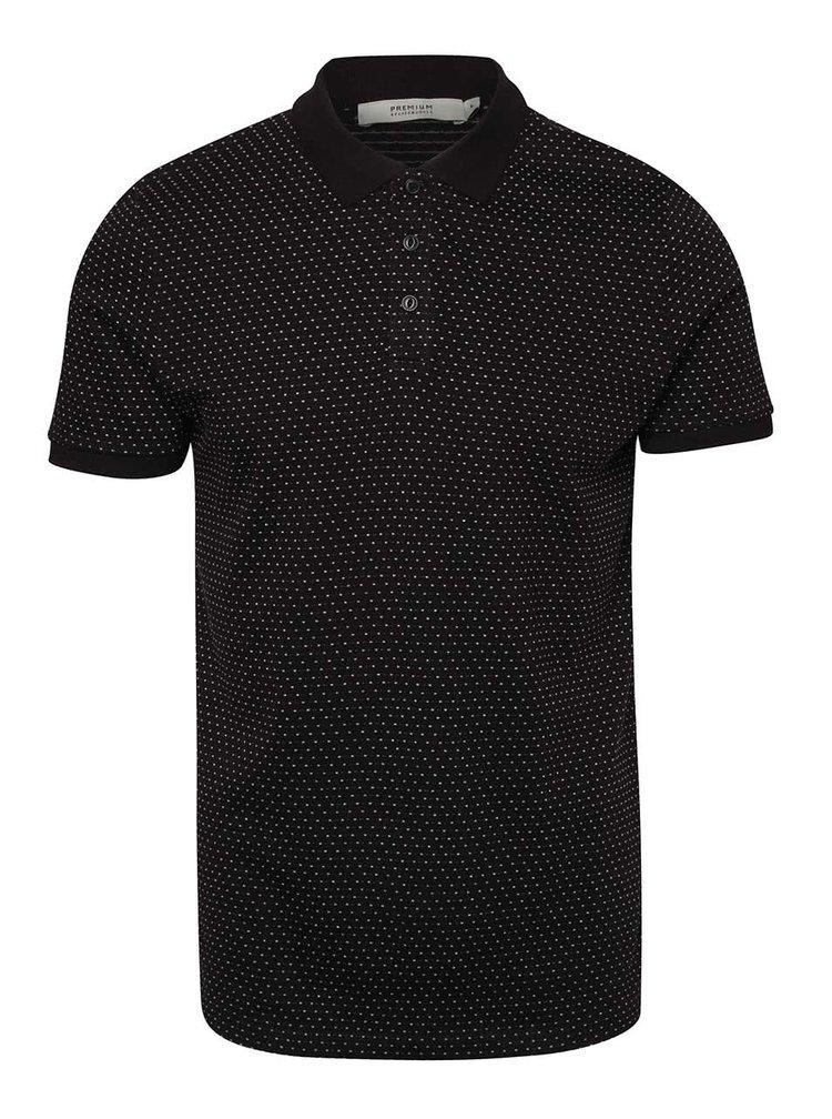 Černé polo triko s puntíky Jack & Jones Pointal