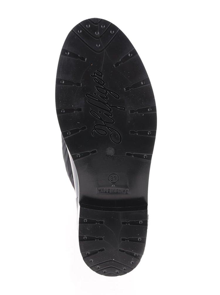 Černé prošívané holínky s lesklou spodní částí Tommy Hilfiger