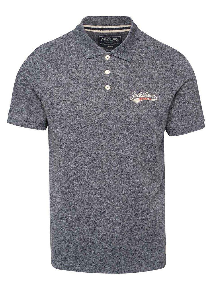 Tmavě modré žíhané polo triko Jack & Jones Sport
