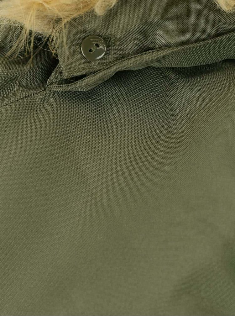 Khaki parka s umělým kožíškem VERO MODA Excursion Expedition