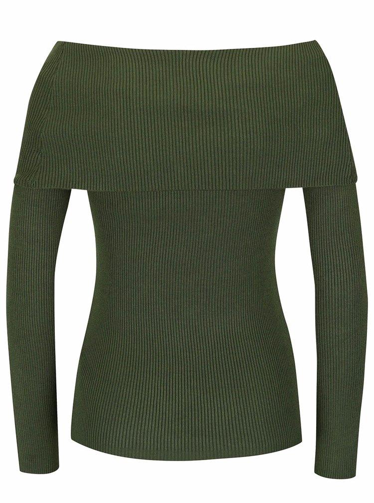 Khaki svetr s lodičkovým výstřihem Noisy May Magenta