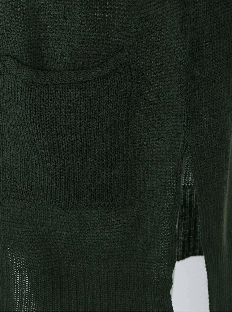 Khaki žíhaný cardigan s 3/4 rukávy VERO MODA Anna